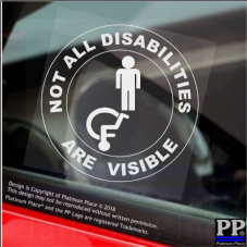 1 x Not All Disabilities Are Visible-Round-MALE-Window Sticker-Sign,Car,Disabled